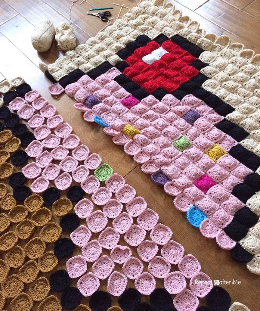 Crochet Cupcake Pixel Blanket   Häkelmuster und Häkeln