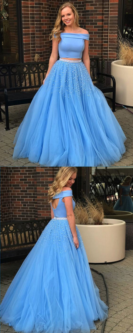 Unique blue off shoulder long pearl aline two piece prom dress for