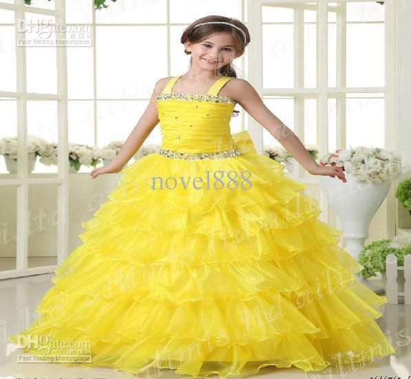 Wholesale Hot Sale Yellow Girl Kids Pageant Dress Party Princess ...