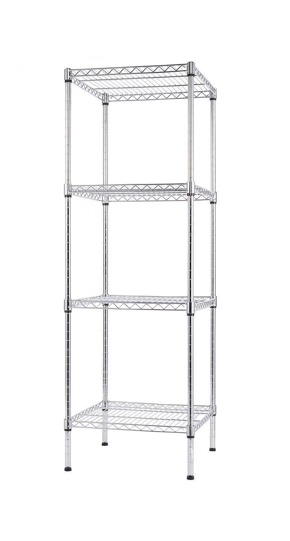 Amazon Com Finnhomy 4 Shelves Adjustable Steel Wire Shelving Rack For Smart Storage In Small Space Or Room Corner Metal Heavy Duty Storage Unit Bathroom Ideer