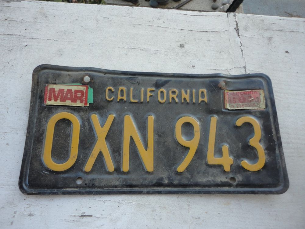 1963 License Plate California Black Yellow USED Vintage SCTA hot rat
