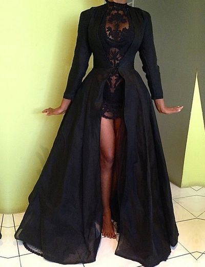 a2aab828a0f Fashion High Neck Long Sleeves Two piece Black Prom Dress With Cape