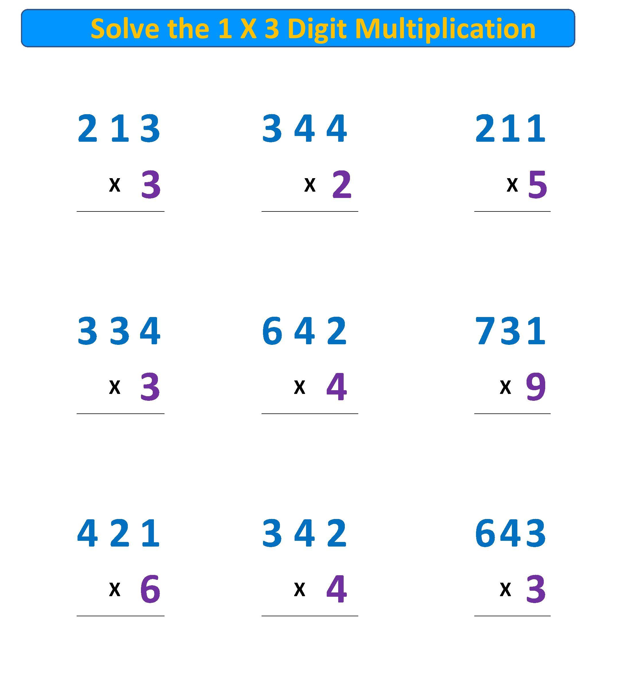 Free Multiplication Worksheet Standard Algorithm 1 X 3 Digit With Regrouping Free Multiplication Worksheets Free Math Worksheets Multiplication Problems