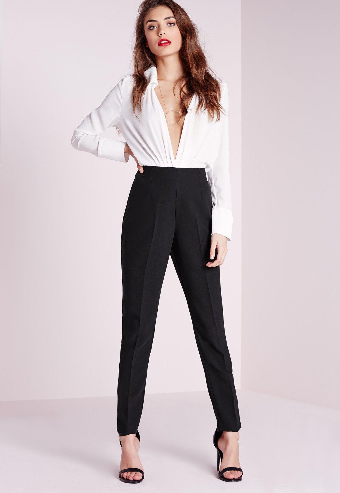 bdad7c9a0f4ad Missguided - Pantalon cigarette noir à taille haute | Pantalon ...