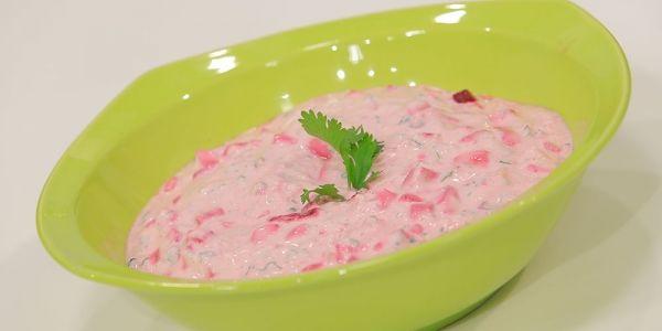 Cbc Sofra طريقة عمل سلطة زبادي بالبنجر ماجى حبيب Recipe Desserts Food Pickles