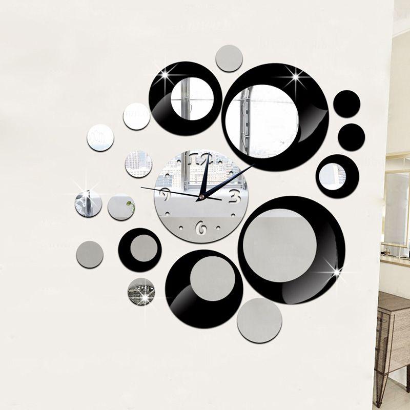 New 3D wall clocks home decor Crystal mirror Round Design wall watch