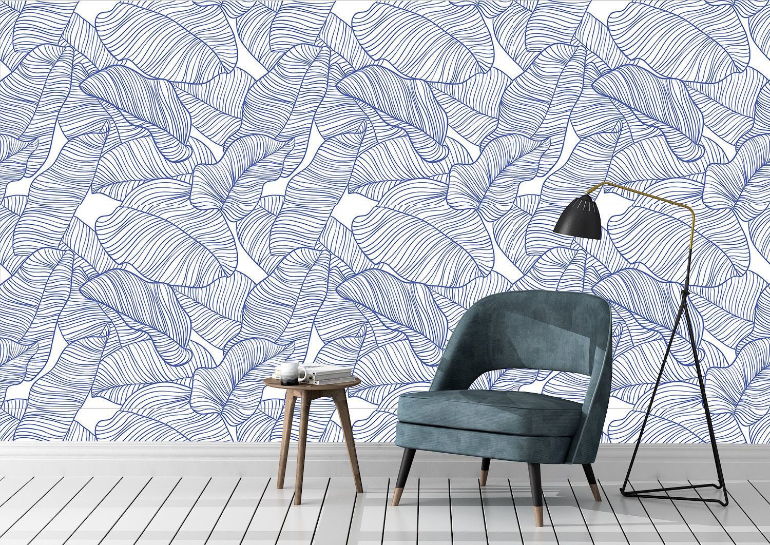 Removable Peel And Stick Wallpaper Blue Palm Leaves Outline Etsy Peel And Stick Wallpaper Retro Wallpaper Removable Wallpaper