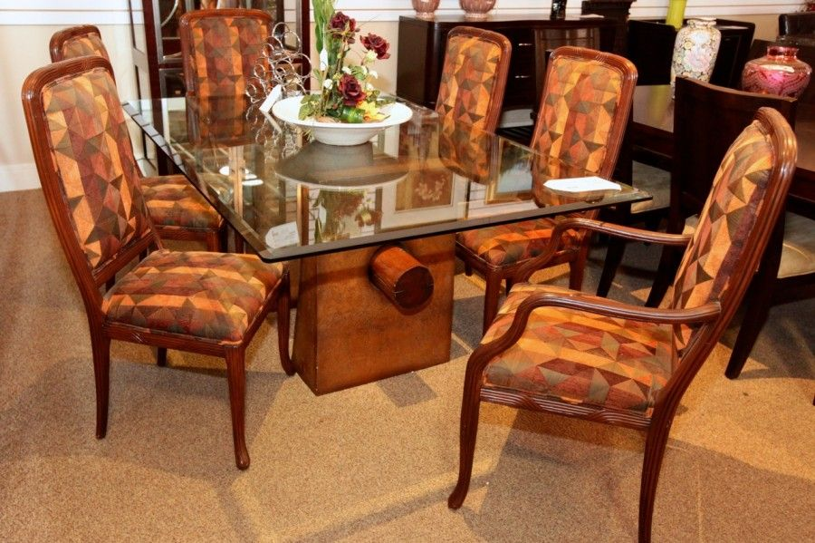 Glass Top Dining Table w/ Log Base  6 Chairs - Colleen\u0027s Classic