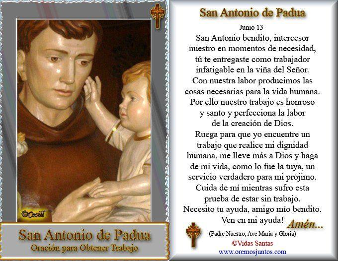 Oración A San Antonio De Padua Para Encontrar Un Trabajo Santo Patrono De San Antonio De Las Vega Oracion A San Antonio San Antonio De Padua Antonio De Padua
