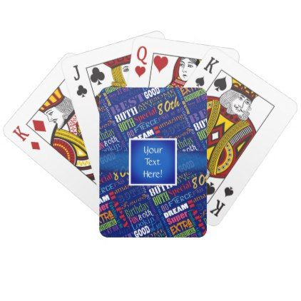 Fun 80th Birthday Party Personalized Monogram Playing Cards