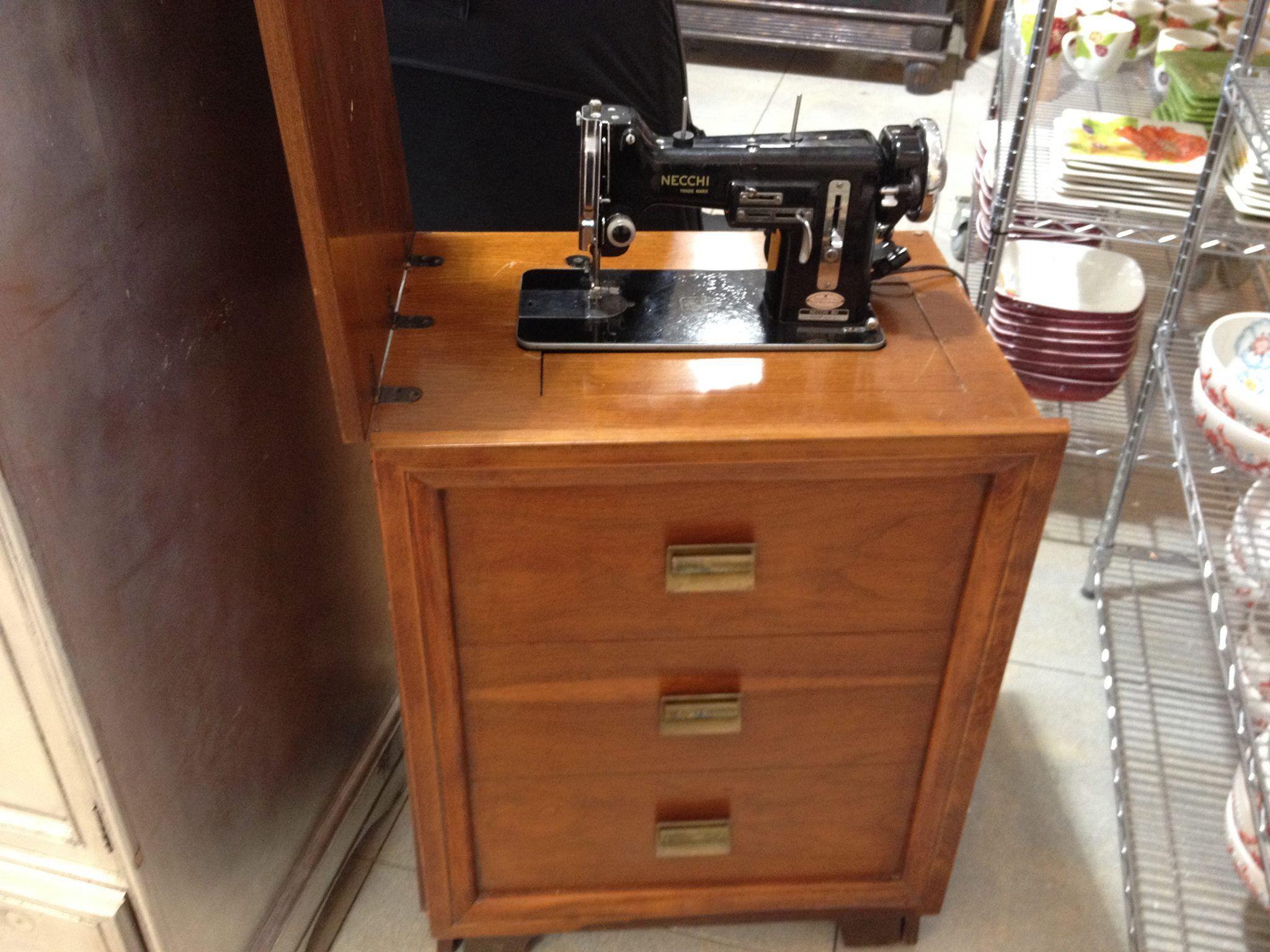 Antique Sewing Machines · Vintage Necchi in modern style cabinet & Vintage Necchi in modern style cabinet | Vintage Sewing Machines ...