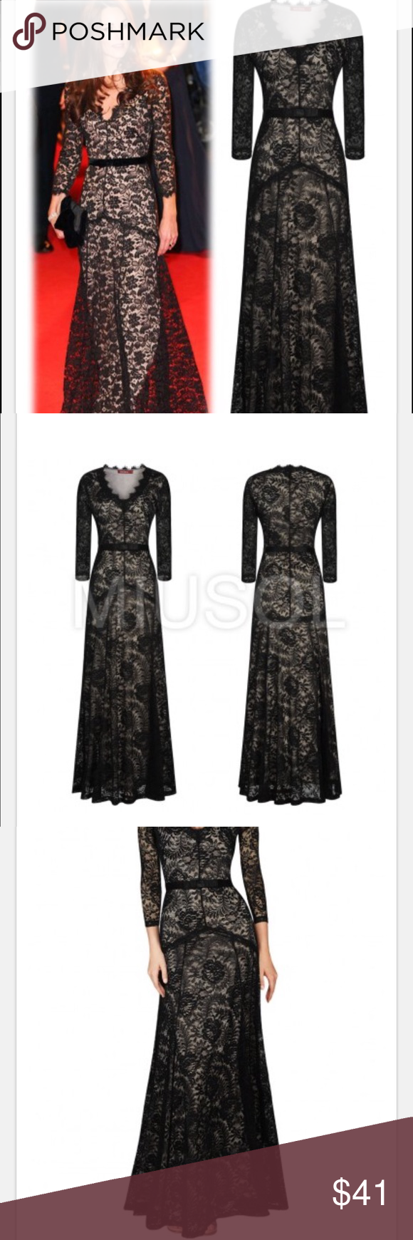 Miusol floral lace sleeves long dress size l nwt ebs sleeve