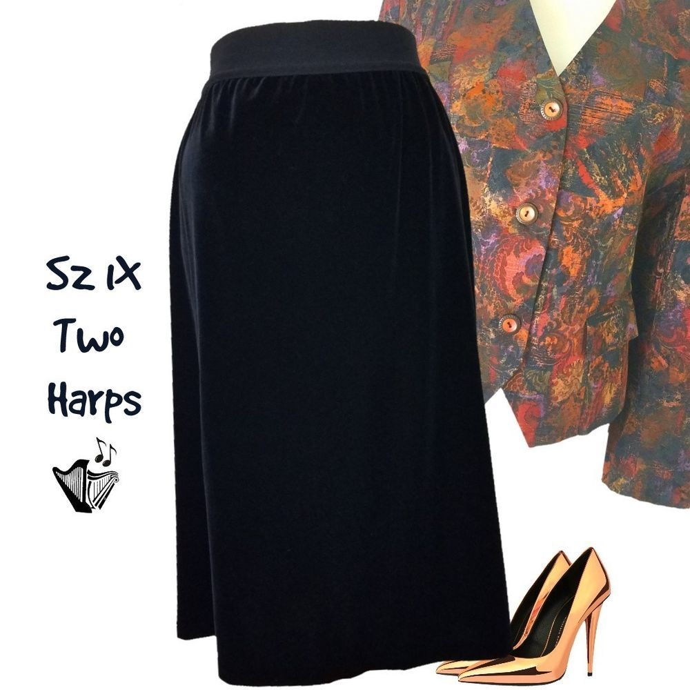 22f0c89c4b8 Details about Two Harps Black Velour Skirt Sz 1X Straight Midi with ...