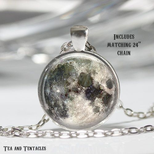 Moon Necklace, Science Jewelry, Astronomy, Geek Pendant, chain included X239