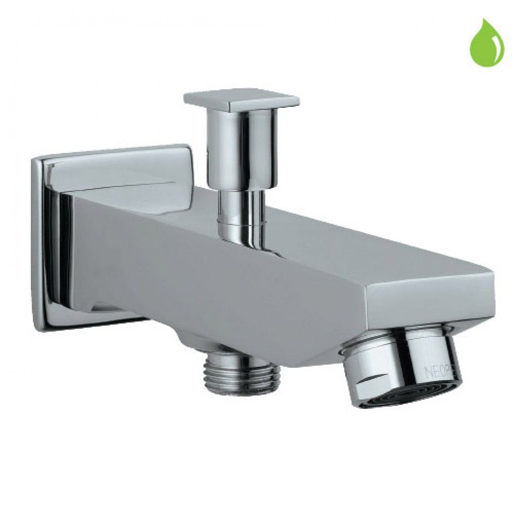 Jaquar bathroom fittings wall mixer - Jaquar Kubix Bath Tub Spout With Button Attachment For Hand Shower With Wall Flange