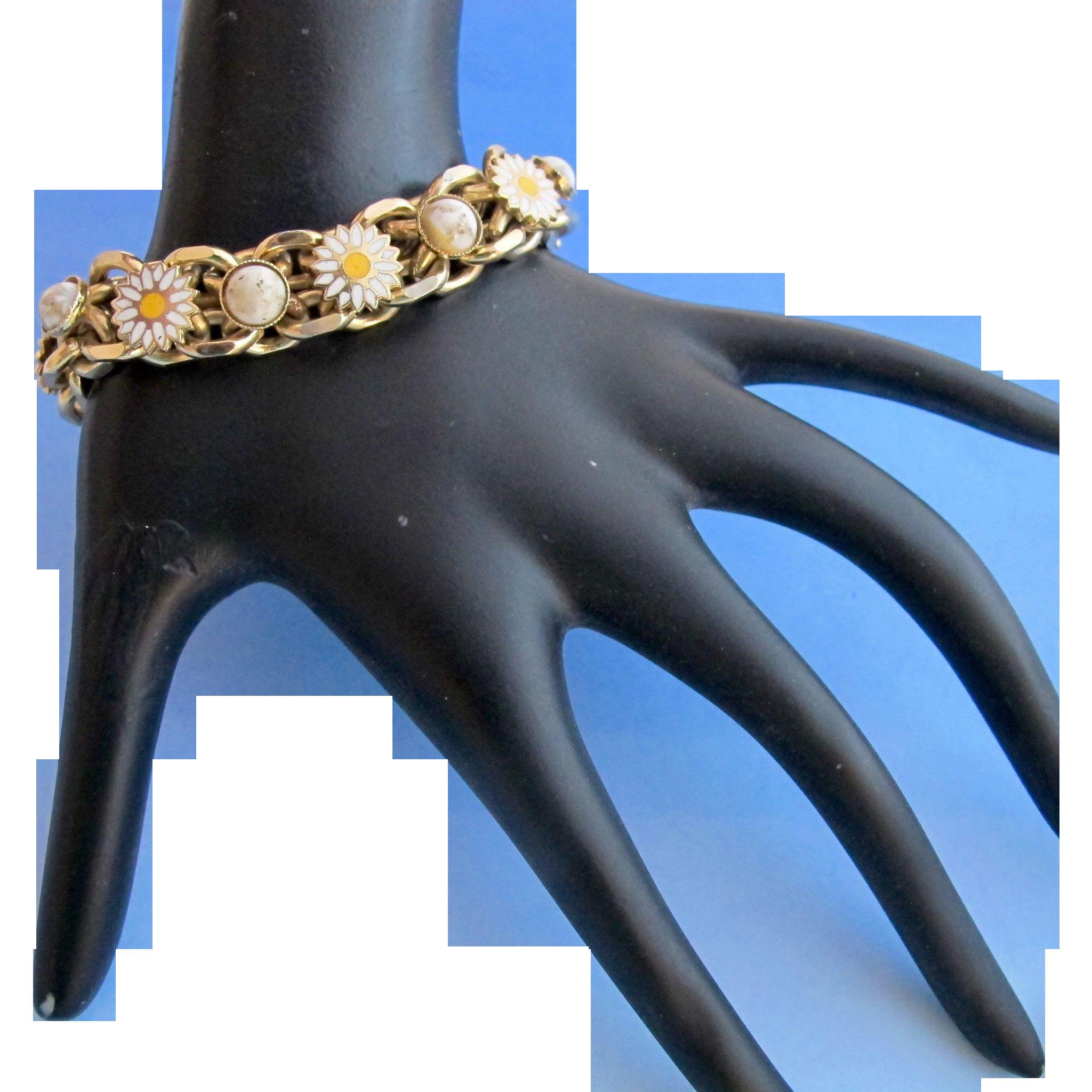 Vintage Double Link Daisy And Stone Bracelet Stone Bracelet Unique Bracelets Vintage