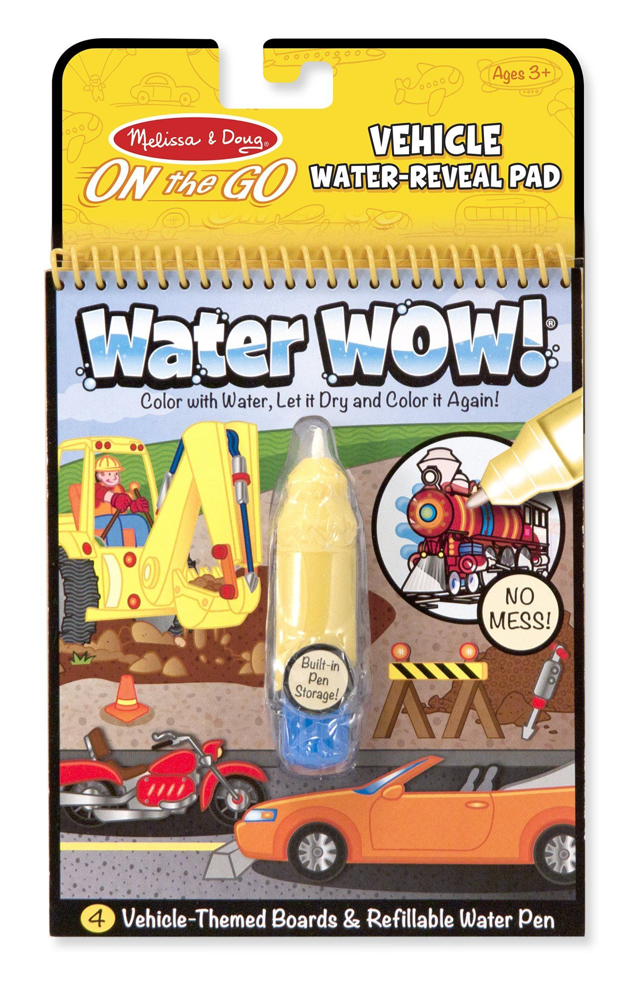 Amazon Com Melissa Doug On The Go Water Wow Water Reveal Pad Vehicles 4 Boards And Water Pen Meliss Coloring Books Christmas Gifts For Kids Travel Toys