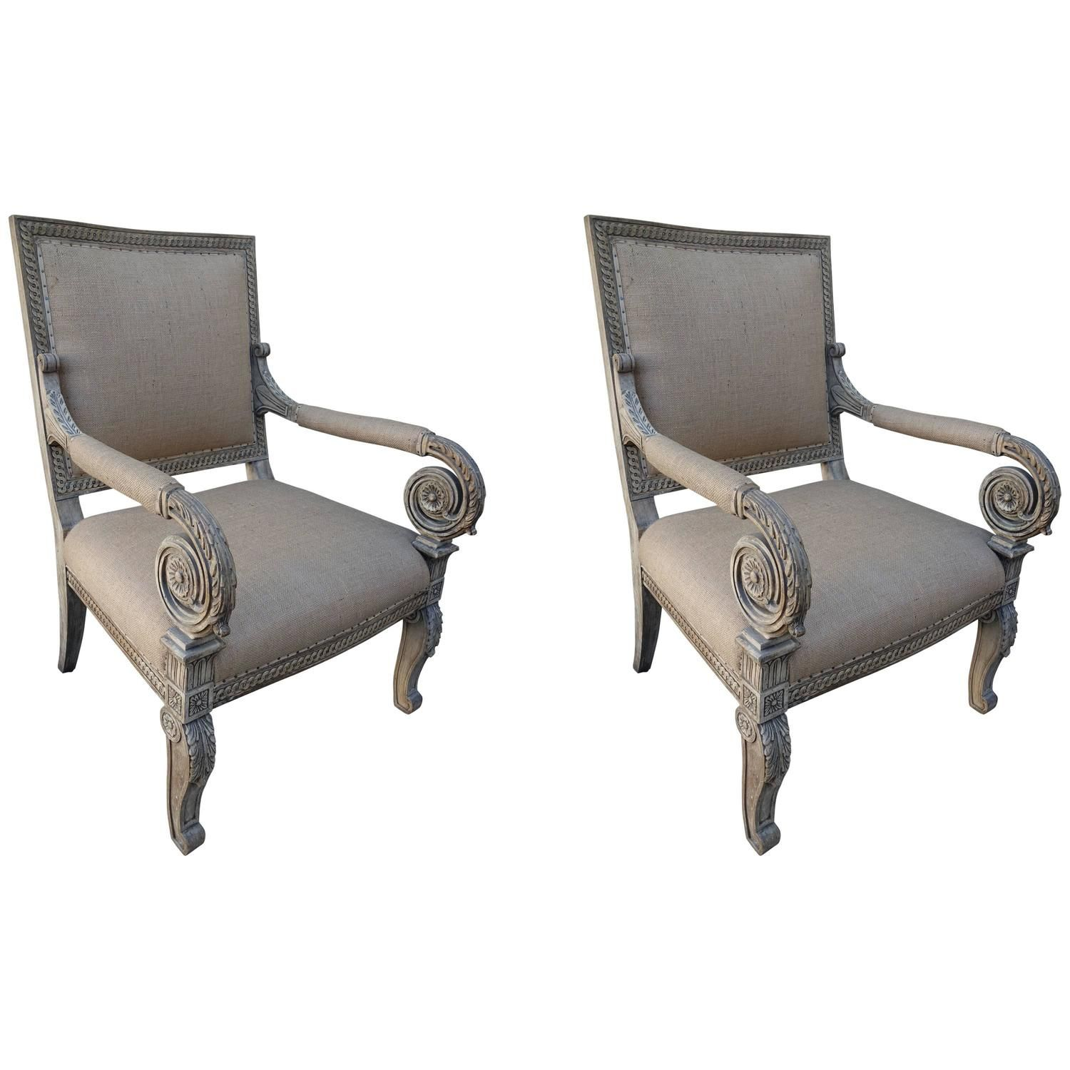 Pair of Carved Italian Armchairs, circa 1900