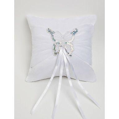 vihkisormus tyyny valkoinen satiini perhonen koristeltu - EUR € 10.14