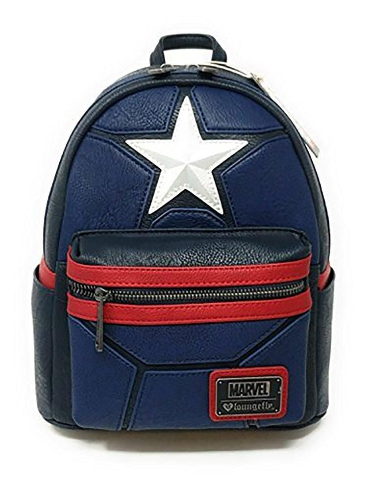 acd790bd5b7b Loungefly x Marvel Captain America Costume Cosplay Mini Backpack FAUX  LEATHER MINI BACKPACK WITH FAUX LEATHER APPLIQUE DETAILS. WITH EXTERIOR  SIDE POCKETS.