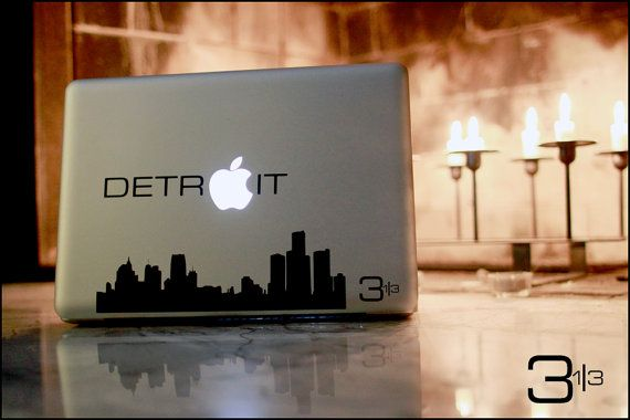 Detroit Skyline Macbook / Vinyl Decal  Show off your by 3andathird, $9.99