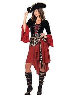 7cce67fb8ef6e Costumes de Cosplay Costume de Soirée Pirate Fête   Célébration Déguisement  d Halloween Noir Rouge Mosaïque Robe Ceinture Chapeau