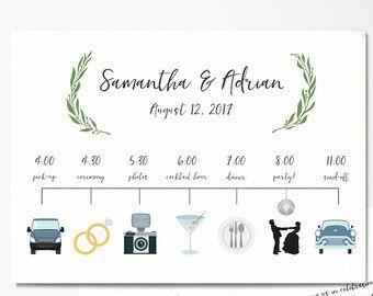 Custom Wedding Timeline - Wedding Itinerary Timeline -Wedding Day ...