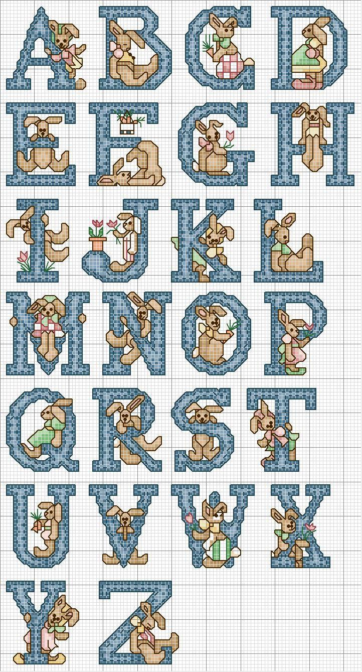 Schema punto croce alfabeto coniglietto blu sewing for Ricamo punto croce alfabeto