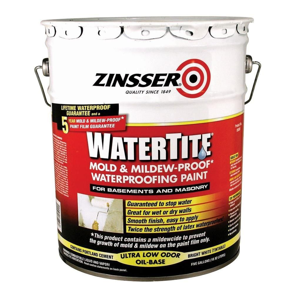 Zinsser 5 Gal Watertite Mold And Mildew Proof White Oil Based Waterproofing Paint 5000 The Home Depot Waterproofing Basement Waterproof Paint Mold And Mildew