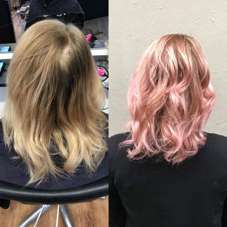 lyserødt hår