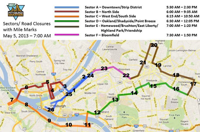 Pittsburgh Marathon Road Closures Map   Maps of Pittsburgh