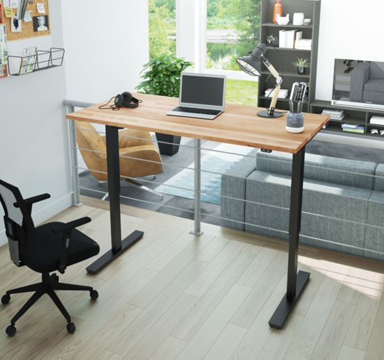 Adjustable Height Desk with Solid Wood Top 60W 8827673