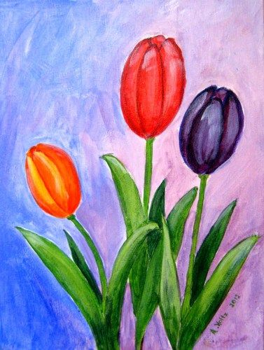Original Acrylic Painting On Canvas Board Tulips Flower Painting