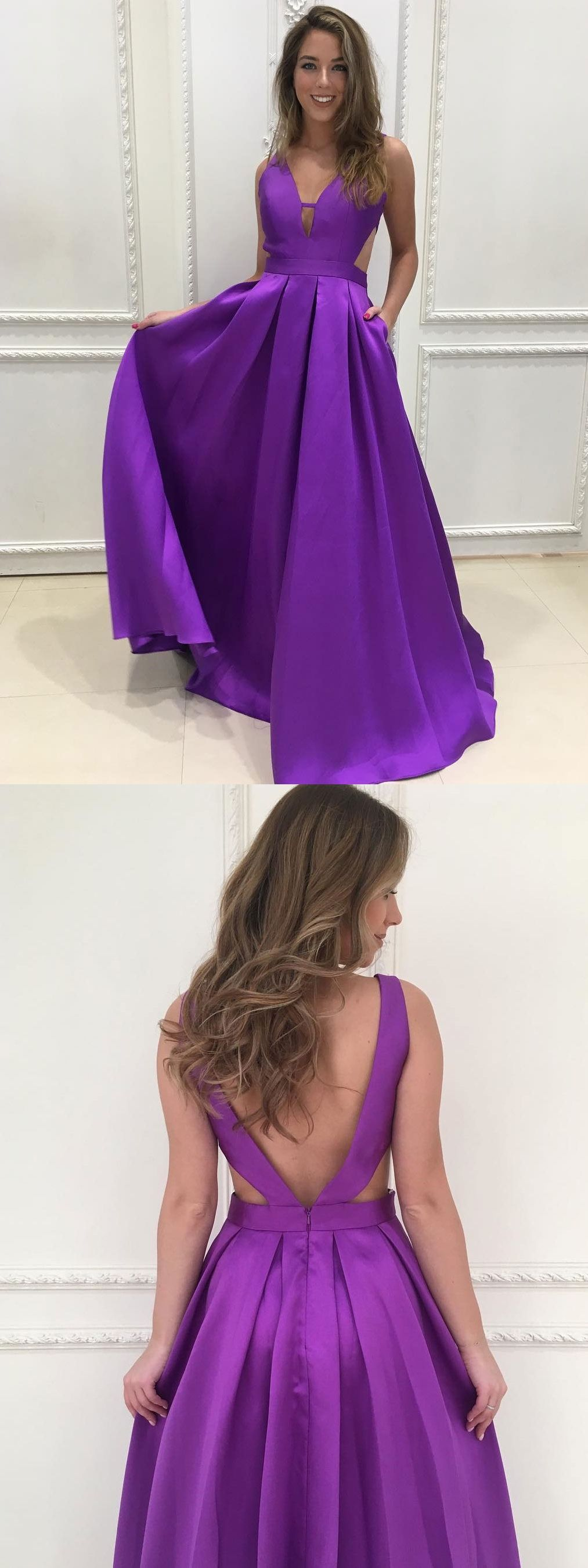 A-line V-neck Satin Long Simple Prom Dresses Purple Bridesmaid ...