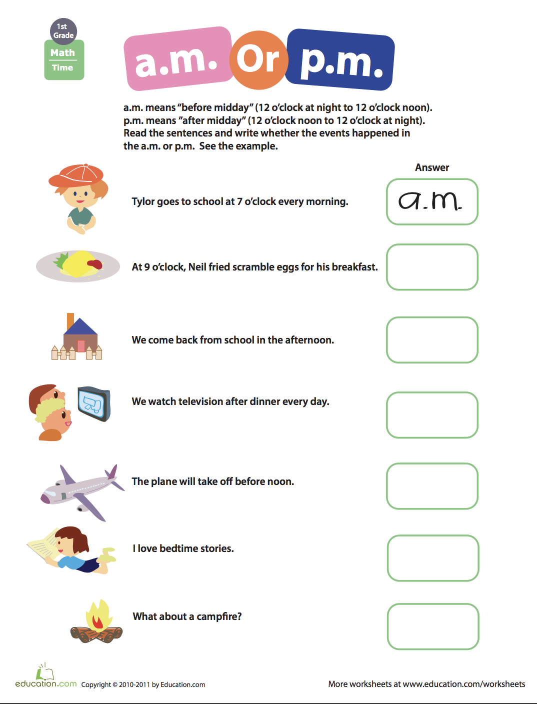 Telling Time A M Or P M Worksheet Education Com Time Worksheets First Grade Math Worksheets Telling Time Worksheets [ 1408 x 1074 Pixel ]