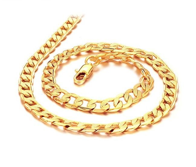 NEW Men Gold Links 18K Yellow Gold GP Necklace Classic Thick Chain