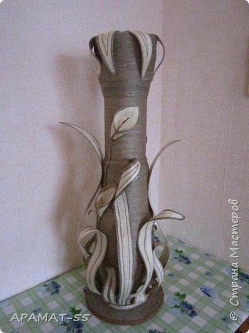 Напольная ваза своими руками из трубы и шпагата