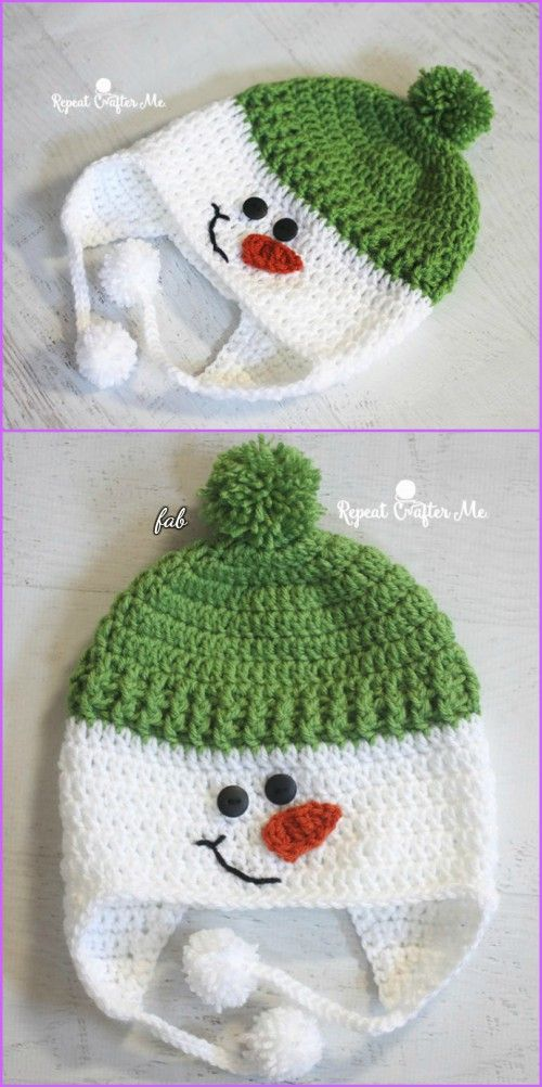 Crochet Snowman Hat Free Patterns #crochethats