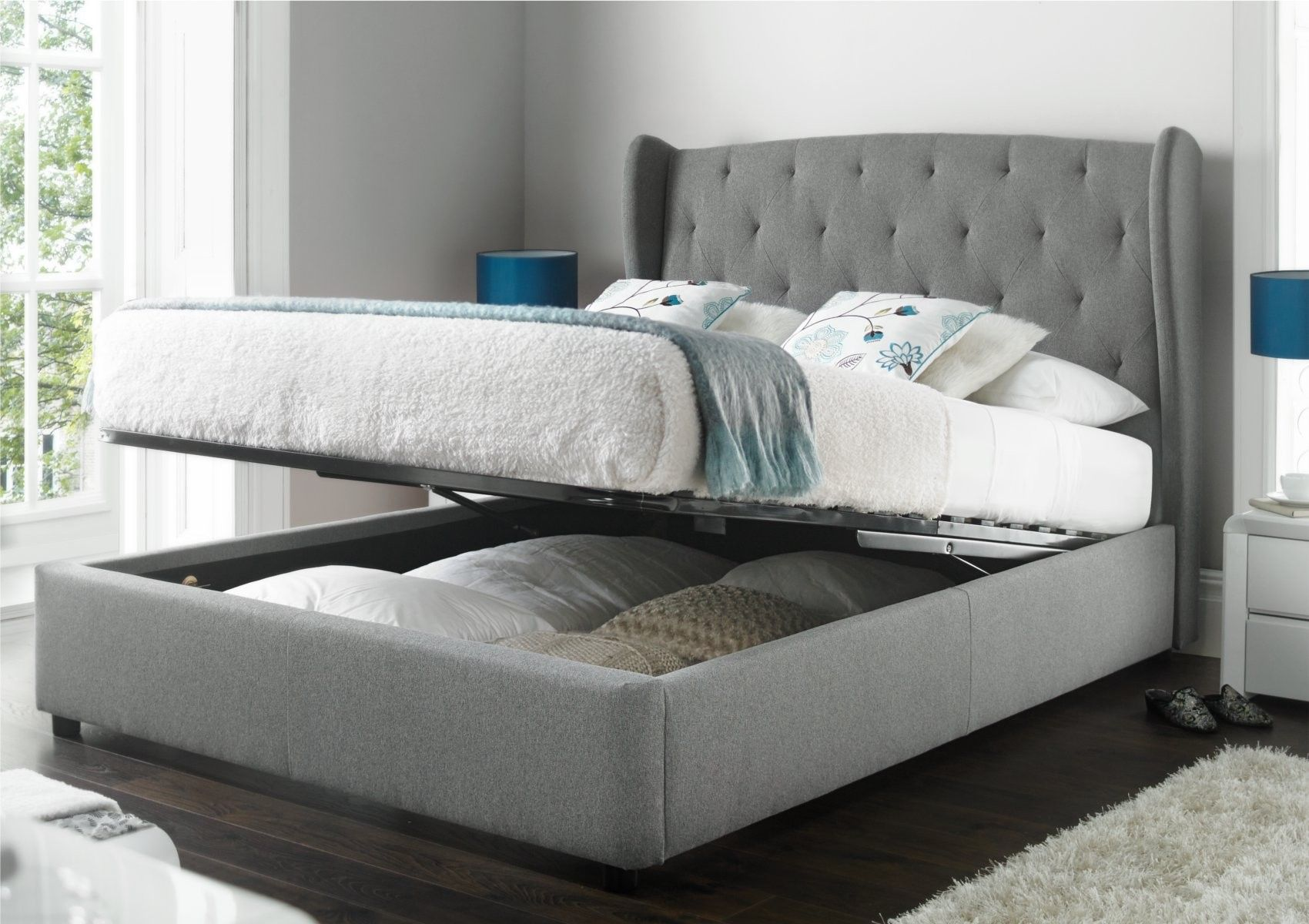 Upholstered wing backed beds are one of the latest trends