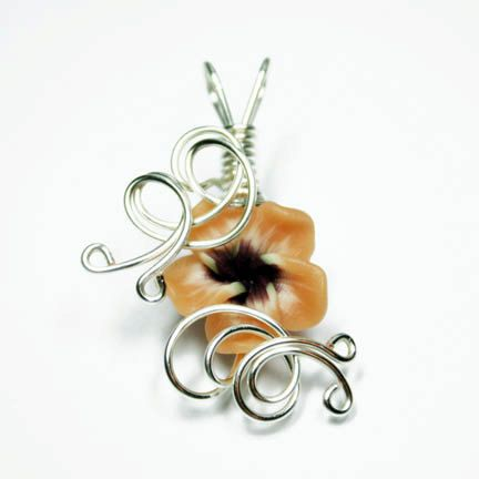 Aromatherapy Wire Wrapped Polymer Clay Tropical Flower Bead $22.00