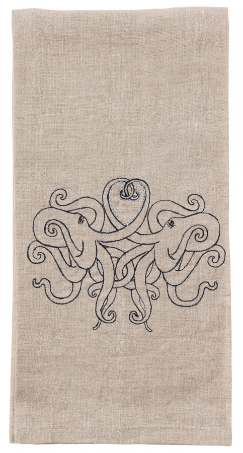 Coral & Tusk embroidered linen tea towel - Octopus Love
