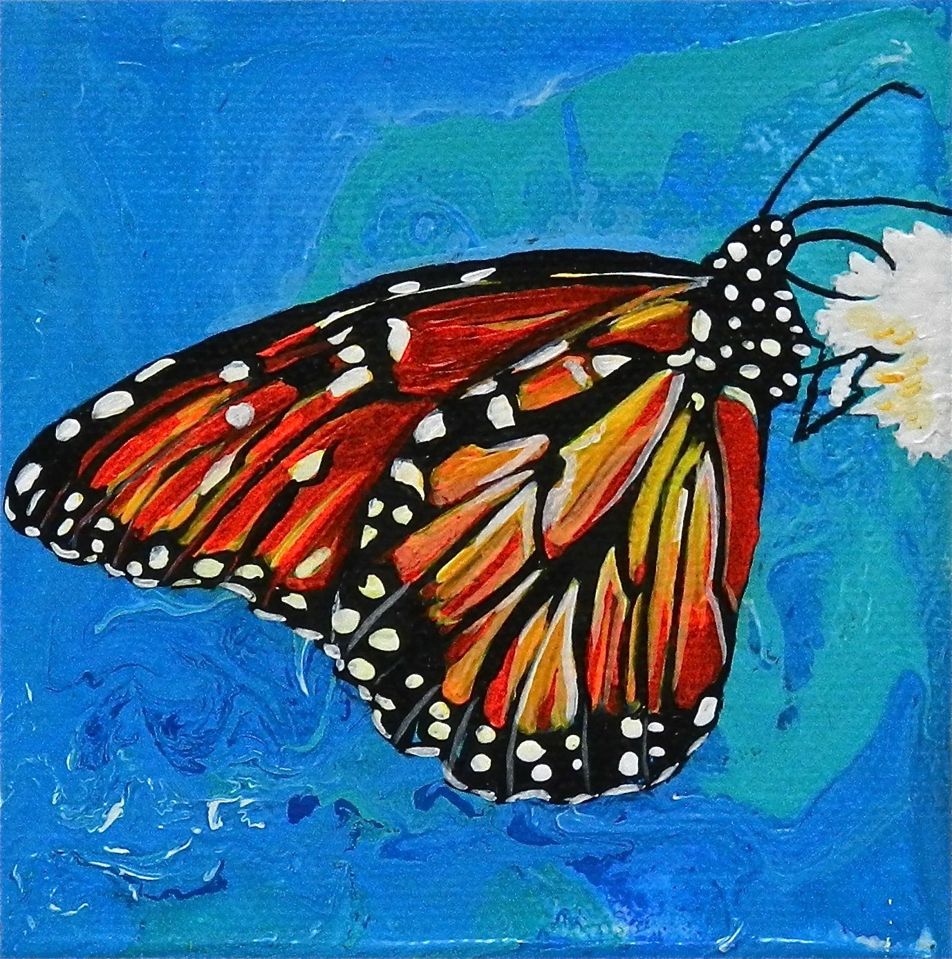 Acrylic on Canvas Butterfly on previously created Acrylic ...