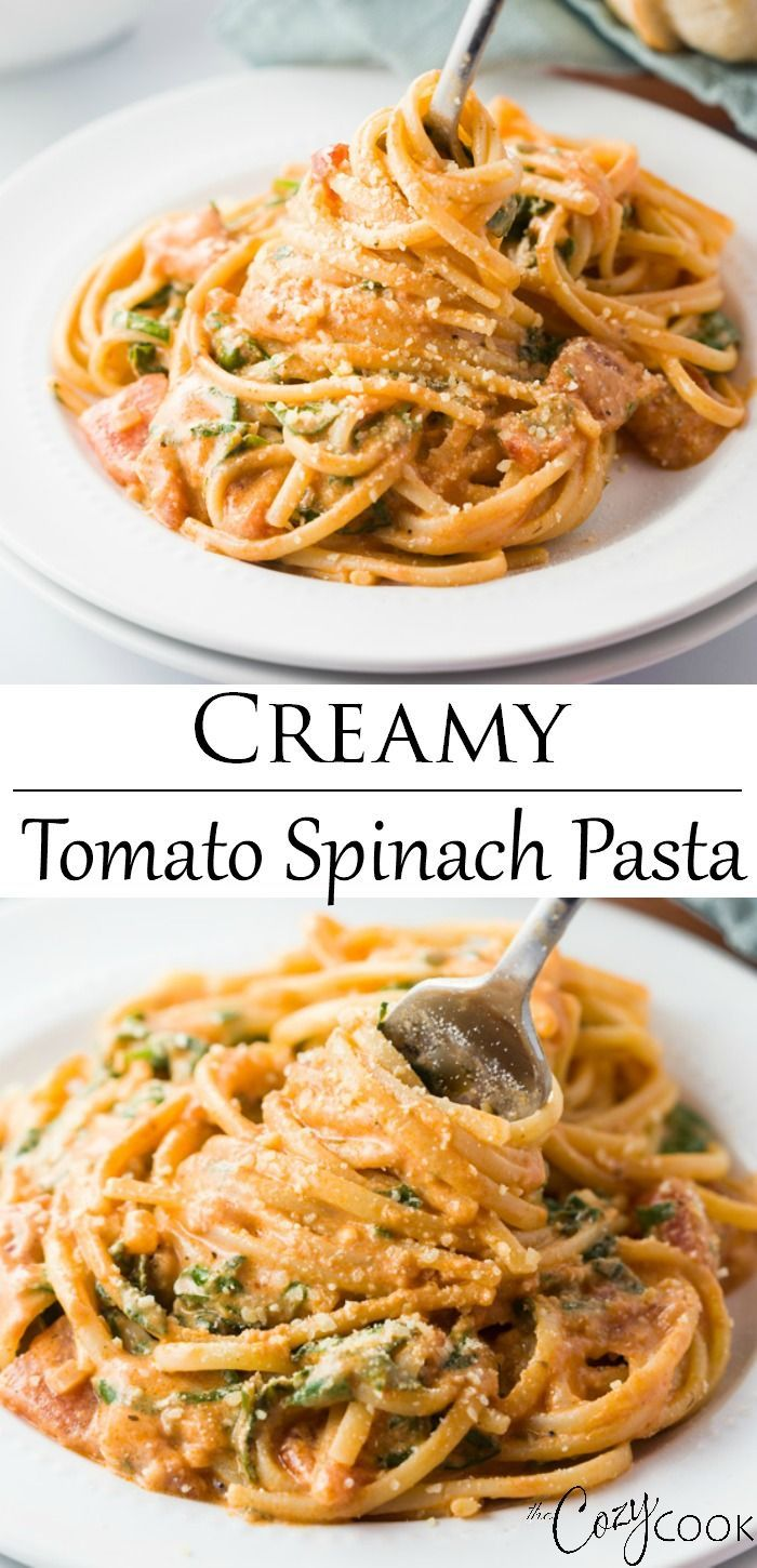 Photo of Creamy Tomato Spinach Pasta