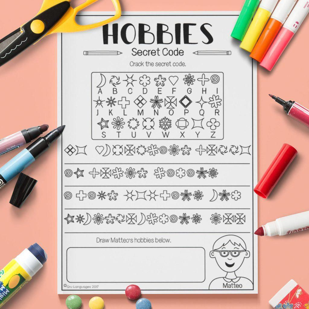 Esl Kids Hobbies Secret Code Activity Worksheet Esl