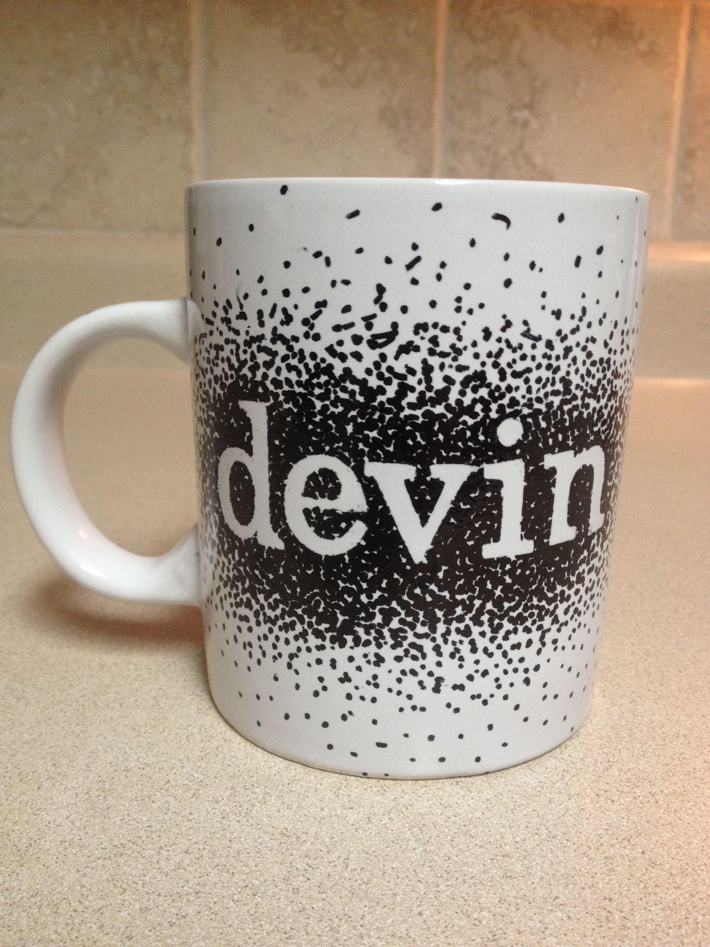 Personalized Ceramic Mug Oil Based Paint Sharpie And White Mug