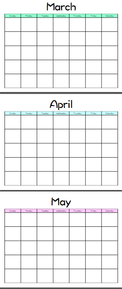 Customizable Blank Calendar Template Mixed Colors Printable Free