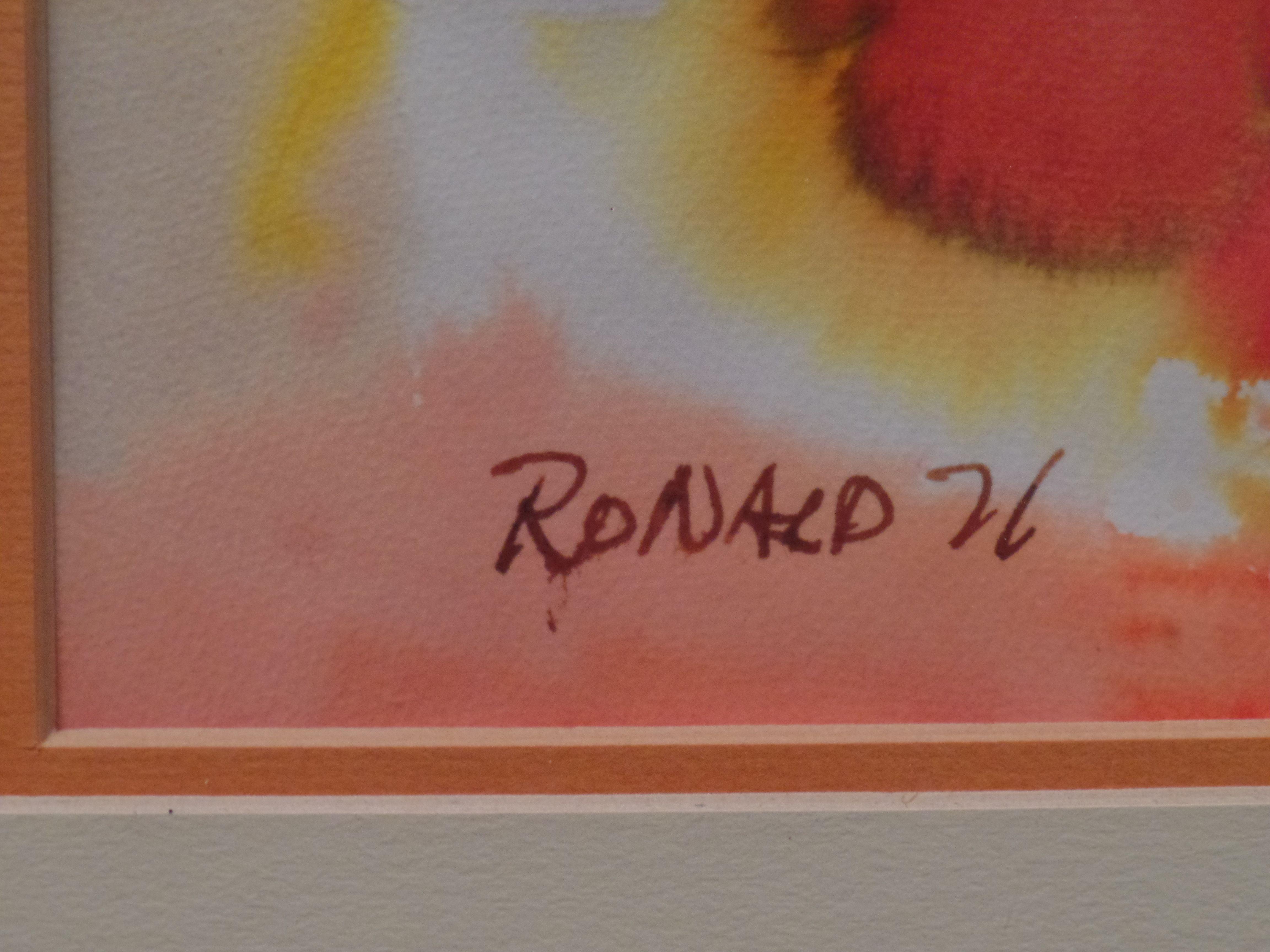 William Ronald Untitled Watercolor Artist S Signature 1971