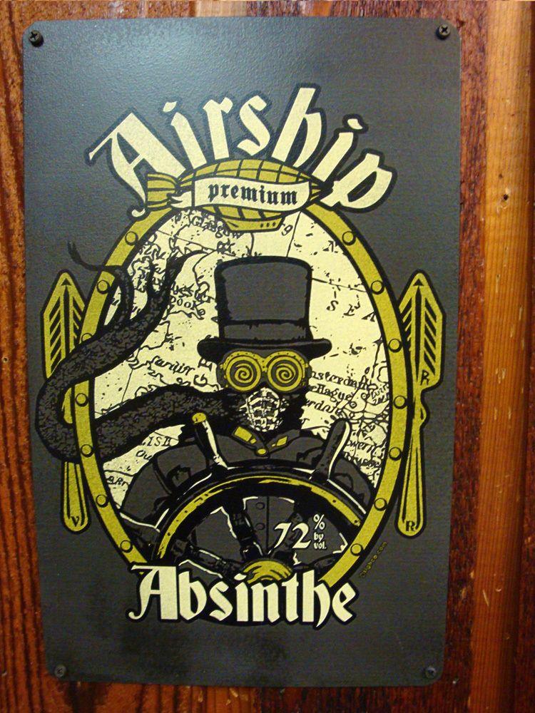 Arkham Bazaar - Airship Absinthe vintage style metal sign, $22.00 (http://arkhambazaar.com/oddities/airship-absinthe-vintage-style-metal-sign/)