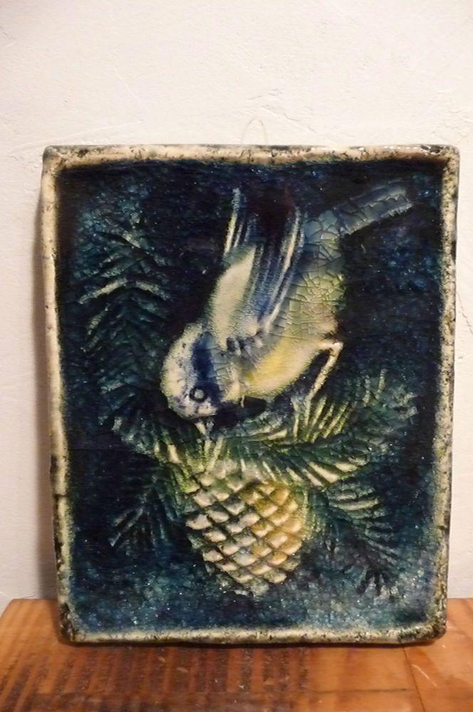 Wandbild Karlsruhe Majolika Vogelmotiv Vintage German Ceramic Wall - Fliesen kaufen karlsruhe