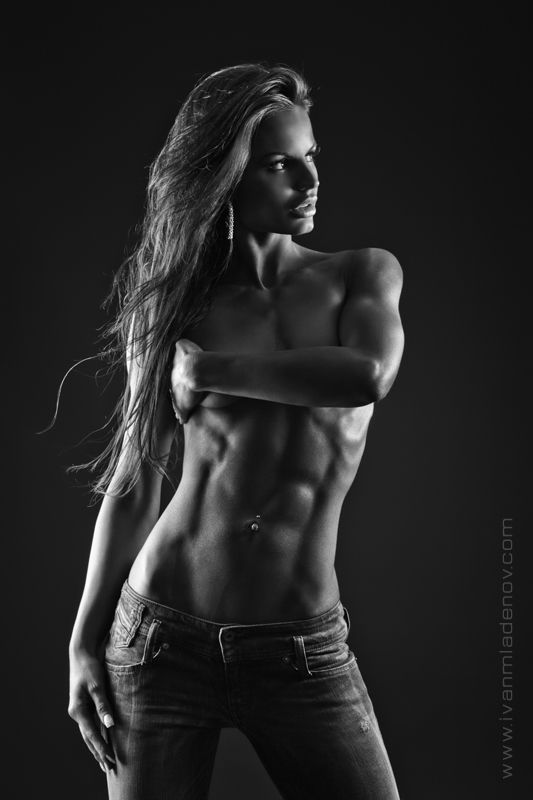 a female example of muscular arms and abs Miss Fitness by messtor.deviantart.com on @deviantART